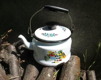 Vintage Enamel Tea Pot / Kettle / Georges Briard