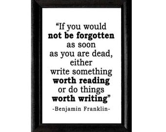 Benjamin Franklin QUOTE art print Instant Digital Printable Download jpeg file writing writer motivational inspirational literary wall decor
