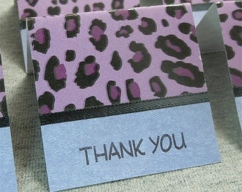 Purple and Black Cheetah Print Mini Thank You Cards 2x2 (6)