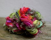 flower child fringe effects™  21yds art yarn bundle specialty fibers ribbons embellisment pack . red pink green yellow