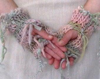 pixie dust. handknit fingerless gloves knit mittens warm woolen sparkle fairy mitts hand warmers sari silk ribbon pink lilac mint peach
