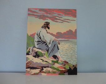VINTAGE paint by number JESUS PAINTING
