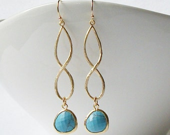 Turquoise Blue Crystal Infinity Drop Earrings