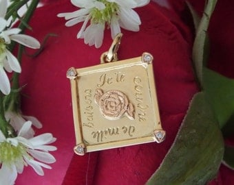 1000 Kisses Pendant in Solid 18k Yellow and Rose Golds with Diamonds, Ready to Ship