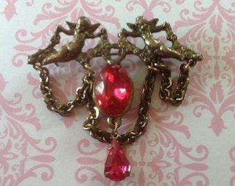 Vintage Pink Rhinestone Cherub Angel Brooch Pin with chain dangles