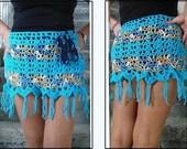 CROCHET PATTERN, Turquoise Beach Skirt, belly dancing skirt, Swim Suit Cover up, Summer clothing, make any size, Poolside Skirt,  #976