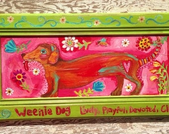 Folk Art Weenier Dog Original Painting  Wall Art