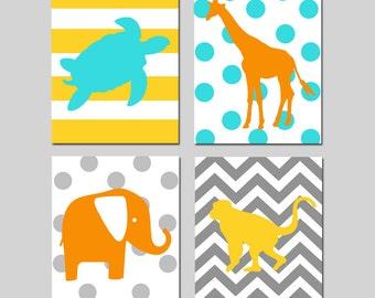 Giraffe Elephant Monkey Turtle Nursery Art Animal Jungle Safari Quad - Set of Four 8x10 Prints - CHOOSE YOUR COLORS
