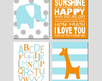 Baby Boy Nursery Art Quad - Alphabet, Polka Dot Elephant, You Are My Sunshine, Stripe Giraffe - Set of Four 8x10 Prints - CHOOSE YOUR COLORS