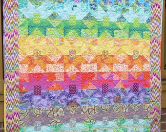 Ombre Split Stars Colorful Modern Quilt-Made with Kaffe Fassett fbrics