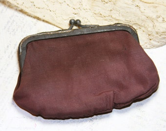 Vintage Brown Fabric COIN PURSE- Tiny Purse with Metal Clasp