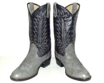 Dark blue and grey Cowboy Boots - mens size 6  / womens 7.5 - western wear - Vegan friendly