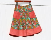 Semi Gathered A-Line skirt, Dainty Daisies Emerald, New Joel Dewberry Bungalow, Skirt with 2 Pockets, Custom Made, All Sizes XS to Plus
