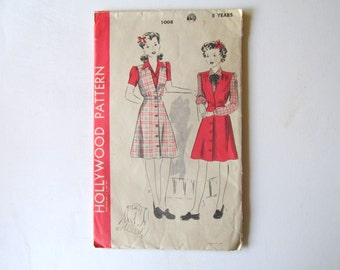 Vintage Sewing Pattern 1930s Hollywood Pattern 1008 Girls Size 8 Blouse and Jumper