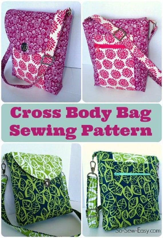 Easy Crochet Crossbody Bag Pattern : Cross Body Bag PDF Sewing pattern