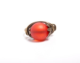 Sunset Vintage Style Wire Wrapped Ring, Lucite Ring, Bright Orange Ring, Statement Ring
