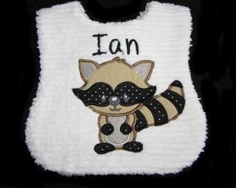 Personalized Baby Bib - Appliqued Raccoon - White Chenille - Reversible - Bandit
