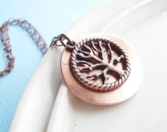 Copper Family Tree Necklace - WIllow Tree Necklace - The Giving Tree