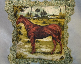 Elegant CHESTNUT HORSE in Field Pillow w/Green Scallop Fringe Trim...Quality Upholstery Fabric
