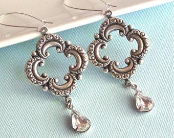 Silver Rhinestone Earrings - Clover, Rhinestone Teardrop, Long Earrings, Bohemian, Clear Crystal