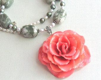 Large Real Rose Necklace - Pink, Statement Necklace, Flower Necklace, Real Flower Jewelry, Nature Jewelry, Gemstone, Peace Jasper