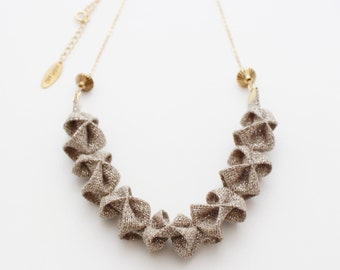 Origami Mini Necklace ー Beige - only 2 LEFT