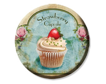 "Pocket Mirror, Magnet or Pinback Button - Wedding Favors, Party themes - 2.25""- Strawberry Cupcake MR154"