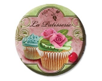"Pocket Mirror, Magnet or Pinback Button - Wedding Favors, Party themes - 2.25""- La Patisserie MR266"