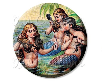 "Pocket Mirror, Magnet or Pinback Button - Wedding Favors, Party themes - 2.25""- Trio Mermaids Art MR404"