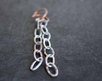 White Wash Copper Chain Dangle Earrings Rustic Patina Long Shoulder Dusters Boho Bohemian Jewellery 7