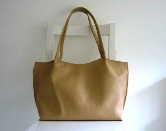 Light Tan Leather Tote Shoulder Bag