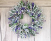 Silver King and dried flower wreath, with shades of blues and violets.