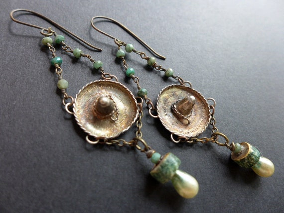 Rückkehrunruhe. Delicate green assemblage earrings with sterling silver sombrero charms.