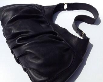 Black Leather Purse, Black Leather Bag, Leather Purse, Pleated Handbag, Leather Pleated Bag, Leather Hobo, Black Shoulder Bag, Black Hobo