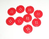 Red Buttons - 9 Matching Buttons - 4 Hole Buttons - Craft Supply Buttons - Sewing Supply Buttons - Red Plastic Buttons