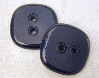 HuGE PAiR Vintage Sewing Buttons 35mm - Navy Blue Retro Mod Plastic Buttons - 2 VTG NOS 1 3/8 inch Rounded Square Dark Blue Buttons PL178