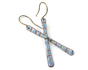 Blue Enamel Earrings - Boho Earrings - Jewelry Gift - Long Hippie Earrings - Sgraffito Jewelry - Long Bar Earrings - Bohemian Jewelry
