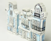 3 blue house magnets, Portuguese town house magnets in Paper mache