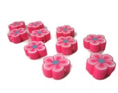 12mm Fimo Polymer Clay Pink Flower Beads