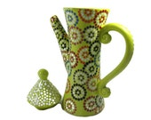 Handmade Teapot Kiln Fired Hand Painted in Mosaic Style Polka Dots