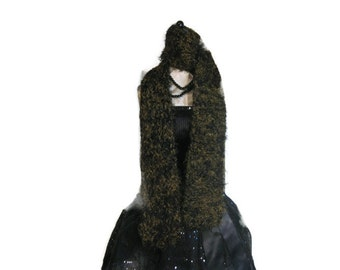 """Olive and Black Fuzzy Knitted Scarf """"Alluring in Camo"""""""