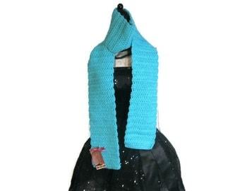 """Crochet Acrylic Scarf """"Robin's Egg Blue"""""""