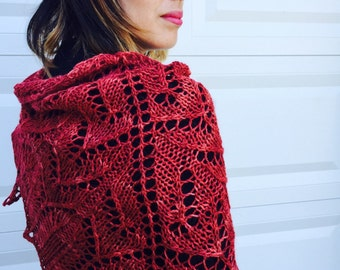 mulled wine shawl, hand knit, merino, alpaca, silk, burgundy
