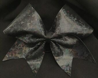Shattered Glass Hologram Black Cheer Hair Bow