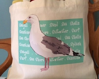 Seagull Tote/tote bag/beach bag/Large beach tote/canvas bag/seagull bag/bags and purses/