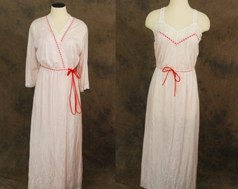 CLEARANCE Sale vintage 70s Nightgown and Robe - White and Red Dots Sleepwear Set 1970s Lingerie Sz M