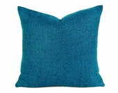 Vibrant Blue Wool Pillows, Mens Throw Pillows, Textured, Peacock Blue, Iridescent, Solid Turquoise Blue, Masculine Decor, 20x20