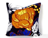 Dramatic Floral Pillow Cover, Blue Orange Pillow, Unique Throw Pillows, Large Flowers, Navy Cobalt Blue Orange, Decorative Pillow, 18x18