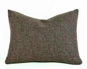 Tweed Wool Pillow, Brown Herringbone Pillow Covers, MensWear Throw Pillow, 14x18 Lumbar Pillow, Brown Green Rust Flecks,  Mens Home Decor