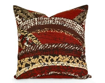 Tribal Pillow Cover, 12x20, Tribal Lumbar Pillow, PILLOW SALE, Graphic Tribal Design, Brown Rust Cream, Mens Cushion, Masculine Decor